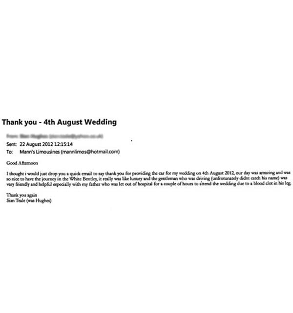 Manns Limo Wedding Car Hire Customer Review