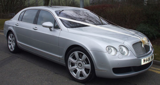 Silver Bentley Continental Flying Spur Manns Limousines