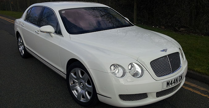 White Continental Bentley Flying Spur