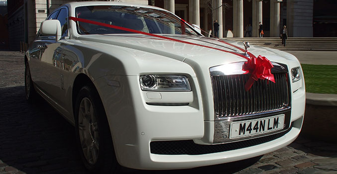 White Rolls Royce Ghost Wedding Car Hire