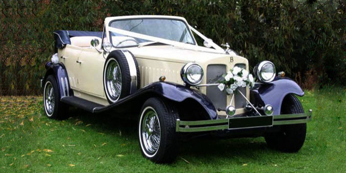 Ivory & Blue Beauford Tourer with Blue Hood (1)