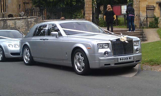 Silver rolls royce car for prestige wedding car hire West Midlands