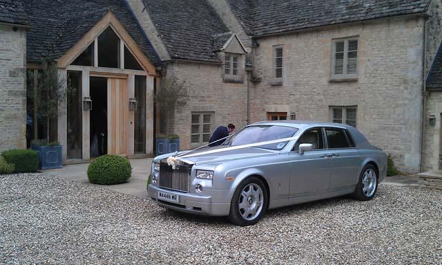 Silver Rolls Royce Phantom for prestige wedding car hire West Midlands