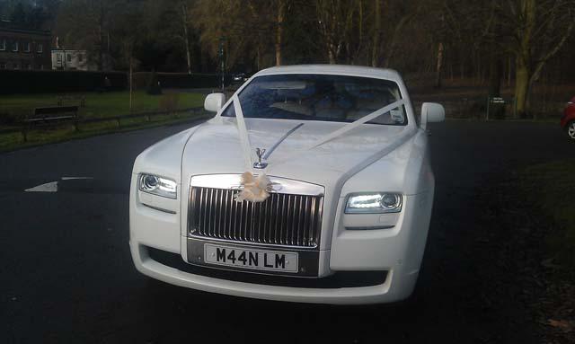 White Rolls Royce Ghostfor prestige wedding car hire birmingham