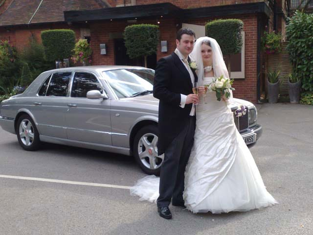 Silver Car for a white wedding