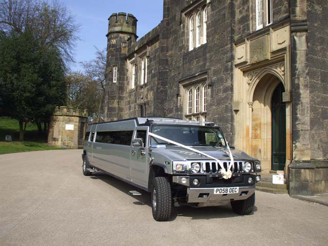Silver Hummer limo for wedding hire
