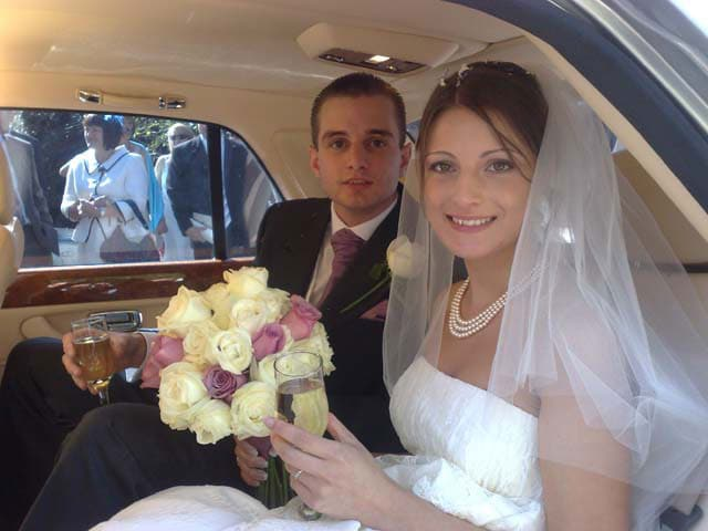 Bride and Groom chauffeur limo transport