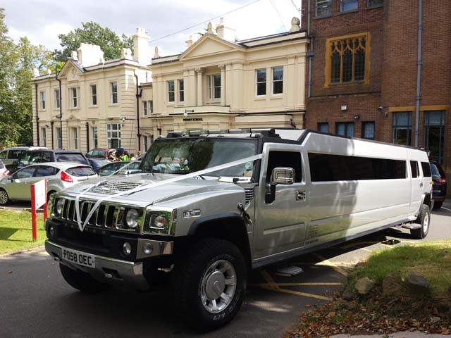 Silver Prom and Wedding hire Hummer