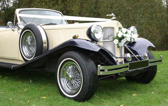Ivory & Blue Beauford Tourer with Blue Hood classic wedding car