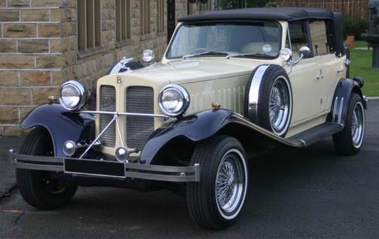 Ivory & Blue Beauford Tourer with Blue Hood vintage car hire