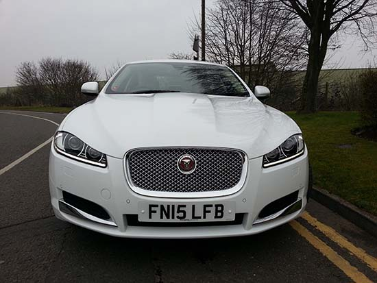 Manns Limo Jaguar XF Front View for prestige wedding cars