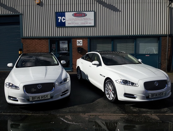 Jaguar XJ LWB White wedding car hire near me