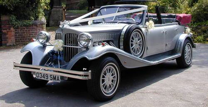 Silver Beauford Tourer 2 vintage wedding cars to hire
