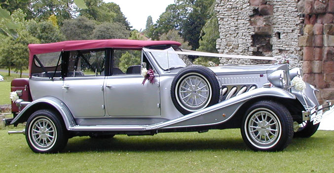 Silver vintage car for wedding cars to hire West Midlands