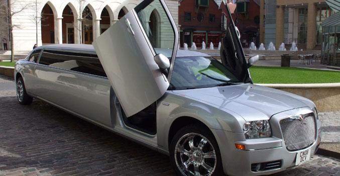 silver limousine for limousine hire Birmingham