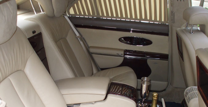White Maybach Interior for prestige wedding cars