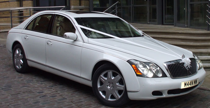 White Maybach Manns Limo for prestige wedding cars Birmingham