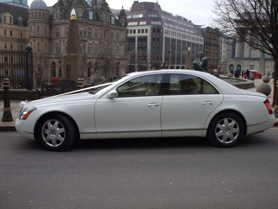 White Maybach Side View for prestige wedding cars