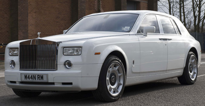 White Rolls Royce Phantom for prestige wedding cars Birmingham