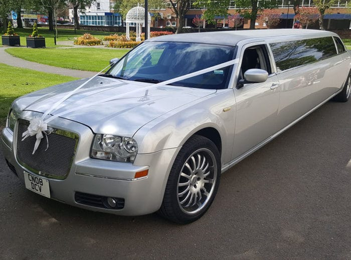 Silver Chrysler Limo for wedding car hire and limo hire Birmingham