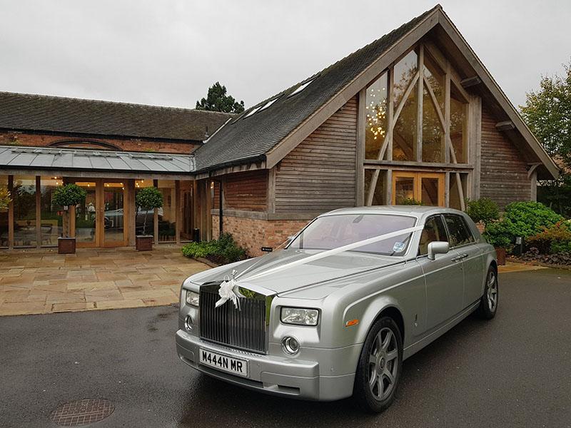 Silver Rolls Royce Phantom for prestige wedding car hire birmingham